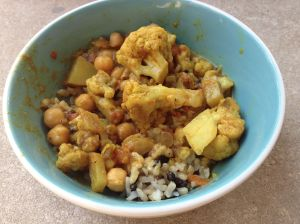 cauliflower chickpea coconut curry w/ wild rice